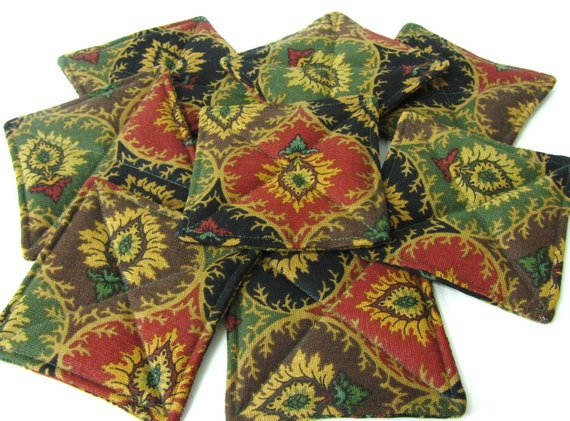 8 Fabric Coasters, Black, Orange, Green, Water Repellent Handmade