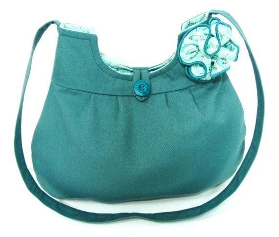 Cotton Hobo Purse, Dark Teal Blue Fabric Handbag, Handmade