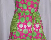 Pink and Green 3 ruffled women's or teens apron