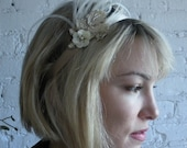 Cream Ostrich Feather and Beaded flower Flapper Stretch Headband