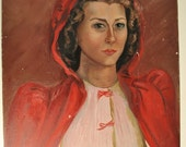 Vintage Portrait of a Lady Oil Painting Woman in Red Hood 1941 Helen Bratton Joyce