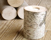Customized Natural White Birch Tea Light Candle Holder