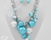 Cinderella Clustered Pearl Necklace In Turquoise