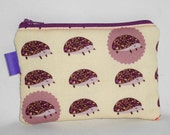 Kawaii Hedgehogs Padded Zippered Pouch --- Purple (Camera / IPod / Cell Phone Case)