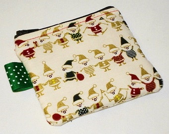 Small Kawaii Zippered Pouch -- Santa's Elves on White (Camera / IPod / Cell Phone Case)