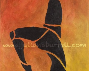 Giclee Art Print from Original Acrylic Painting entitled Acrobat Toe to Head Silhouette - 10x20 inch