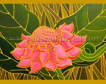 Greeting Card from Original Acrylic Painting entitled Pink Torch Ginger Flower - 7x5 inch -  10 CARDS