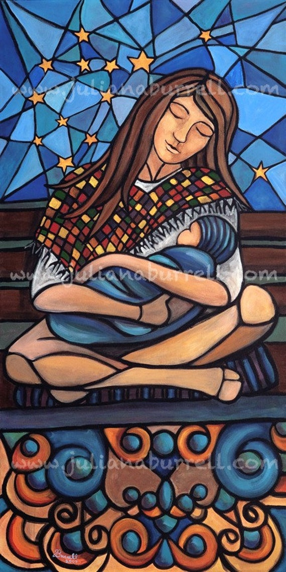 Giclee Art Print from Original Acrylic Painting entitled Mother Night - 12x24 inch
