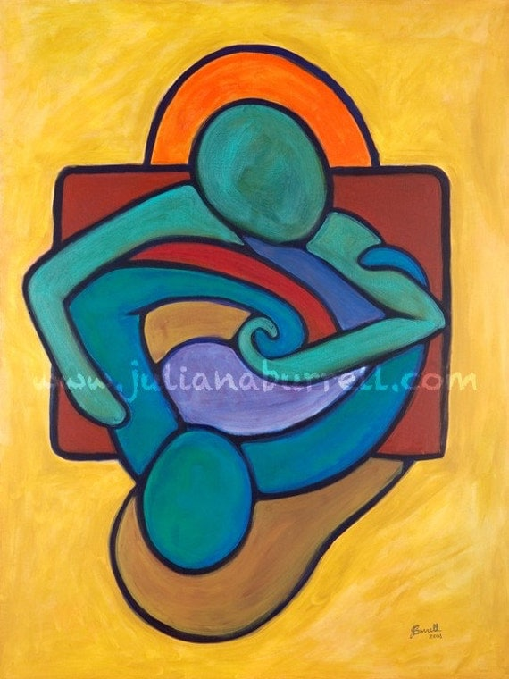 Giclee Art Print from Original Acrylic Painting entitled Table Talk - 15x20 inch