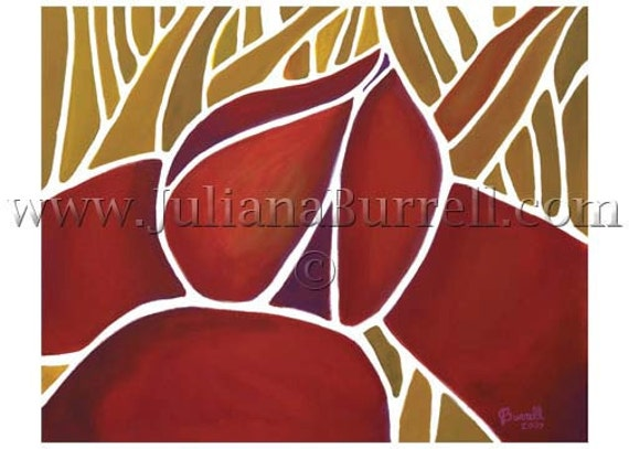 Greeting Card from Original Acrylic Painting entitled Lotus & the Four Elements - 5x7 inch - 10 CARDS