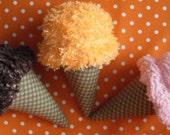 Shabby Chic Chenille Playfood Three Piece Ice Cream Selection Chocolate Swirl Strawberry Orange Sherbert