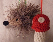 Christmas Hedgehog and Mushroom Crochet Amigurumi Toy Ornament SET
