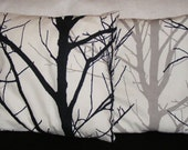 Modern Winter Trees Black Grey And White Print 16 Inch Square Cotton Cushion Cover Pillow case