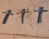 3 Antique Steel Crosses by JunkFX  Free Shipping