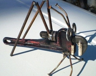 Recycled Lawn & Garden Art Pipe Wrench Grasshopper
