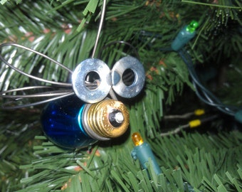 Transparent Blue Christmas Ornament Fire Flies Made in Iowa Free Shipping by junkfx