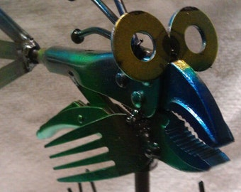 Recycled Vicegrip Fish Hand Colored Free Shipping