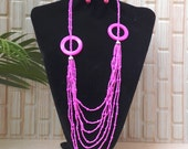 Jewelry - Necklace, Beautiful long multy strings Pink shell necklace.