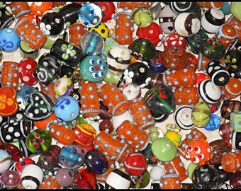 2 Pounds lampwork beads mix HANDMADE  free ship