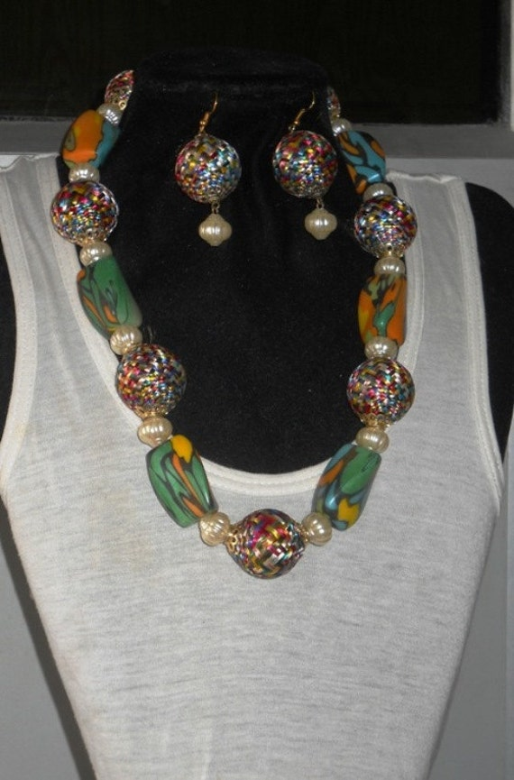 Jewelry - Necklace multy color choker style beaded,woven BEACH  necklace with matching earings. and bracelet
