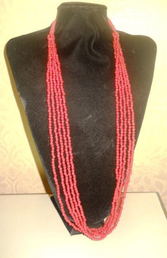 "Necklace - Beautiful ,Retro, smart 32 "" long hemp,Red color multy strands long summer"