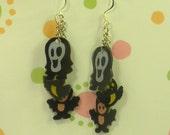 Halloween Earrings Ghost Owl Bat Dangles
