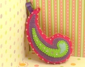 Felt Christmas Ornament Hand Stitched and Beaded Pink Purple Green and Blue Paisley