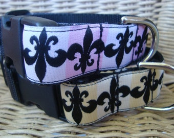 Fleur De Lis Saints Large Dog Collar