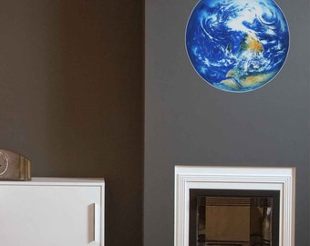 Earth Wall Decal- Reusable Colorful Wall Sticker, Planets, Child Decor