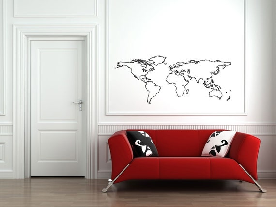 World Map Outline 41x101 Removable Wall By