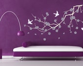 Vinyl wall art decals -- Cherry Blossom Branch Wall Decal -- Easy Installation