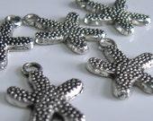 RESERVED FOR kareys Starfish Charms - Tibetan Silver - Set of 10