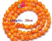 Orange Sherbert Shell Round Beads - 5mm - 10 Pieces