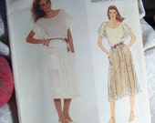 Vogue American Designer Pattern, ADRI No.2952, Size 12, Pullover Top With Tucked Sleeve Details, A-Line Front Wrap Skirt with Tucked Details