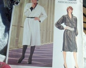 Vogue American Designer ADRI Pattern, No.1284, Size 12, Straight Shirt DRESS With Button Front, Long Sleeves & Pocket Details