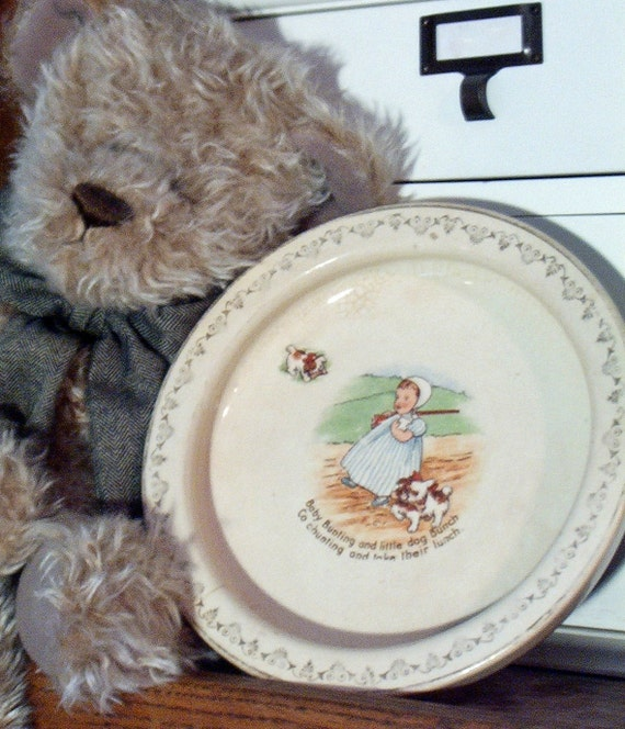 PRICE REDUCED Baby Plate, Holdfast Pottery, D. E. McNicol, East Liverpool Ohio, Baby Bunting & Little Dog Bunch, Vintage Collectible