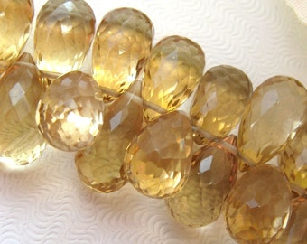 Stunning Champagne citrine full faceted pear briolette 2 beads