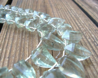 Beautiful green amethyst pepper \/ tooth shaped faceted briolettes Half Strand
