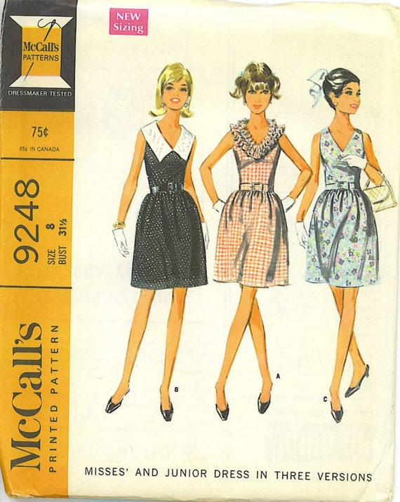 RESERVED-Ruffles, collar, simple-you choose the neckline on this smart sixties dress
