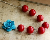 Isabelle necklace--Red Vintage Lucite and Blue Rose
