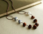 Ceramic and Wood Beads Long Boho Necklace, Blue and White Flowers and Copper