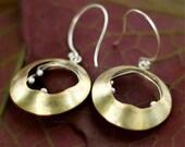 Moon Flower Earrings (Brass n Silver) --FREE SHIPPING--