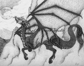 high quality print of my original pen and ink drawing dragon 2 by Kate Sjoberg