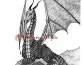 high quality print of my original pen and ink drawing dragon 3 by Kate Sjoberg