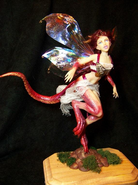 OOAK DRAGON FAIRY faerie fantasy polymer clay art doll by Kate Sjoberg