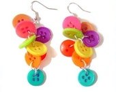 Rainbow Button Cluster Earrings