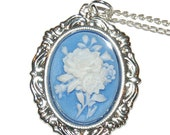 Elegant Blue and White Roses Mounted Cameo