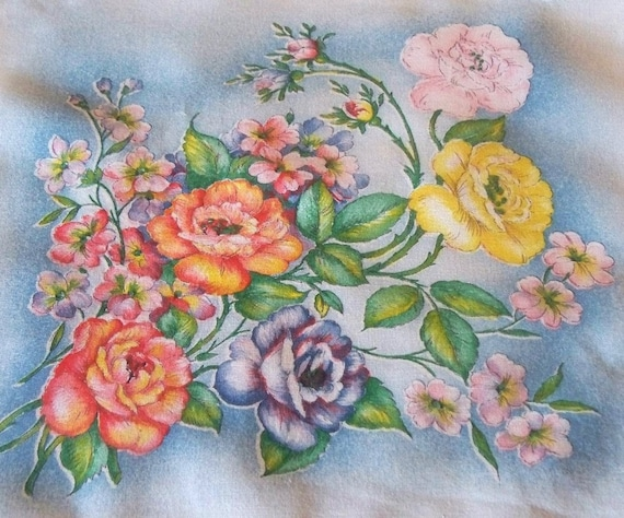 Yellow, Pink, Apricot and Blue Roses Vintage Hanky, White Cotton Print with Blue Background