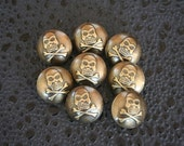 Plastic Bronze Skull and Crossbones Pirate Buttons - 5 Count