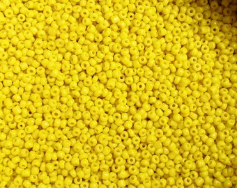 50g Opaque Yellow Glass Seed Beads Size 11/0